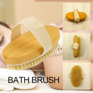 1X Professional Dry Skin Brush Natural Body Bristle Spa Bath Massager Firm Scrub