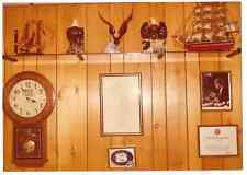 Vintage 80s PHOTO Interior of Man's Den Room w/ Wood Paneling & Collectibles