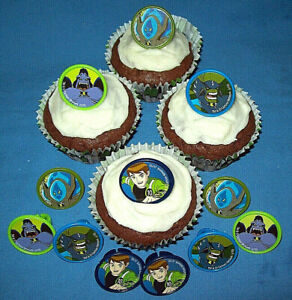 BEN 10 AND ALIENS PLASTIC CHARACTER RINGS FOR DECORATING CUPCAKES - Pack of 12