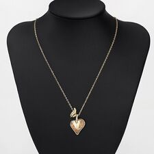 New Made With Swarovski Champagne Gold Crystal Love Heart Necklace Chain Pendant