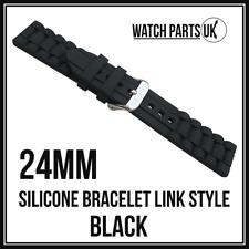 * Estilo de enlace 24mm Negro Pulsera Silicona Goma Reloj Correa De Alta Calidad 24mm *