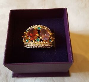 BLING RING Multicoloured SIZE O BRAND NEW QUALITY Gold Plated
