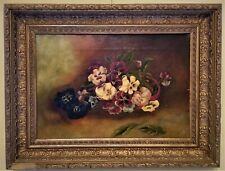 "painting, Pansies, oil on canvas, SJC, 1897, 24""w"