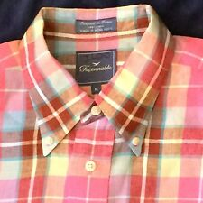 FACONNABLE M Mens Plaid Casual Shirt Multi-Color Button Collar 100% Linen France