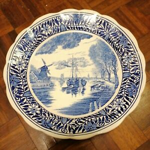 """Vintage Large Heavy Dutch """"Delft"""" Blue Porcelain Windmill  Wall Plate Gift old"""