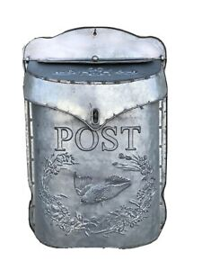 Embossed Galvanised Post Box Wall Mounted Post Box, Vintage style Letter Box