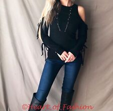 Ribbon Tie Cold Shoulder Open Long Sleeve Soft Brushed Hacci Knit Sweater Top