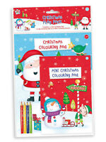 Childrens Christmas Play Pack Colouring Pads Pencils Childrens Activity Set Kids