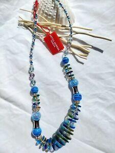 Antica Murrina Venezia Libert1 Murano Glass Blue Necklace RRP £74