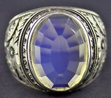 Men's sterling silver ring, moonstone stone, steel pen crafts handmade