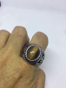 Vintage Silver Stainless Steel Genuine Tiger's Eye Size 8 Men's Cross Ring