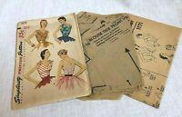 Simplicity 1950s Printed Blouse Pattern 1171 Size 12 Bust 30 Vintage Unused