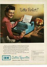 1950 IBM Electric Typewriter Light Blue Secretary Woman Typing Vintage Ad