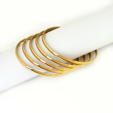 5pcs/set yellow gold stainless steel women's round wire bangles 68mm hot sale