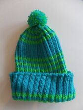 Womens Med/Large Chunky Knit Bright Blue Green Winter Hat Pom Pom Beanie NWOT