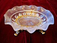 VINTAGE GLASS GOLD METAL METAL PEDESTAL SOAP TRINKET DISH HOLLYWOOD REGENCY MCM