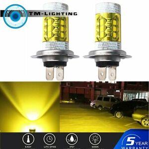 2x H7 4300K Yellow LED Fog Driving Light 2323 80W High Power DRL Bulb
