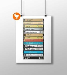 The Beatles, Original Albums Poster: Cassette Print, Fan, Gift, Art