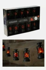 Set Of 10 Battery Operated Lantern String Lights With Warm White LED's 185cm