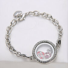 Women Rhinestone Living Memory Floating Charm Round Photo Frame Locket Bracelet