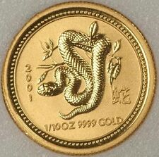 RARE ! ~ 2001 ~ 1/10~OZ PURE .9999 GOLD ~ YEAR of the SNAKE ~PERTH MINT~ $248.88
