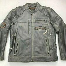 HARLEY DAVIDSON MENS CANTER LEATHER VENTED MOTORCYCLE JACKET XL 97180-17VM TALL