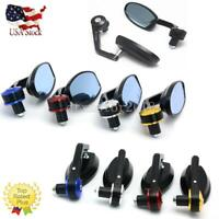 """Pair Universal CNC Motorcycle 7/8"""" 22mm Handle Bar End Rear View Side Mirrors US"""