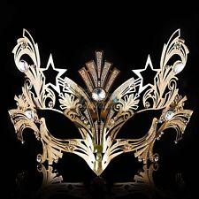 Womens Luxury Light Metal Laser-Cut Venetian Mardi Gras Masquerade Mask [Gold]