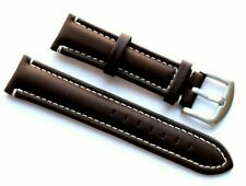 22mm Drak Brown/White Leather Replacement Watch Strap - Guess Fossil 22 Watches