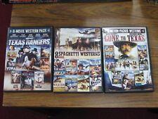 Lot of 3 8-Movie DVD Packs Spaghetti Westerns Texas Rangers Action Cowboys