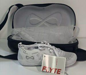 Nfinity Flyte Cheer Shoes Cheerleading Stunt Shoe White with Case NEW Size 10.5