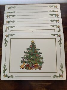 Unique Pimpernel Christmas Tree Cork Back Placemats Made in England Set of 6