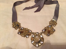 Unique Abstract Shaped Chain Runway Bib Necklace Gold/Silver with Grey Ribbon