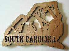 SOUTH CAROLINA State Shape Wood Cutout Sign Wall Art Detailed Design Decor