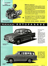 alter Faltprospekt HANSA AUTOPARADE um 1960 HANSA 1100 Limousine, Kombi  ( 4754