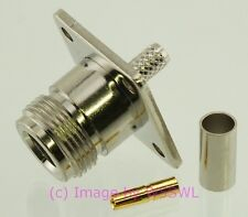 Coax Connector N Female Chassis Crimp for RG-58 - by W5SWL ®