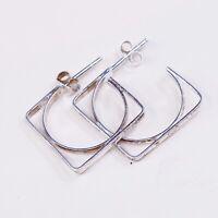 Vtg Sterling Silver Handmade Earrings, Modern 925 Square Studs, Stamped 925