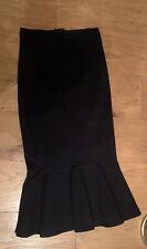 M&S Colección Negro Lápiz Falda de Peplum Dobladillo-tamaño 6