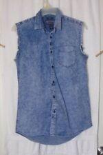 American Rag Sleeveless Acid Washed Denim Button Down Shirt Size Small