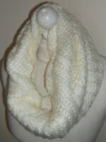 Cream 70% Wool Mix Knitted Infinity Short Scarf Double Layer Cowl Neck Warmer