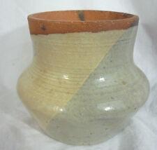 """1970s Studio Pottery Vessel Blue Beige  - Signed - Vintage - 4"""""""