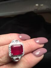 FF Niassa Ruby Ring size 10 White Topaz & Zircon .925 Sterling Silver