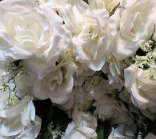 New One Dozen Plastic White Rose Flowers