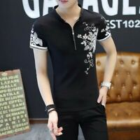 Summer Men Tops Cotton Blend Stand Collar Short Sleeve Printing Casual T-shirts
