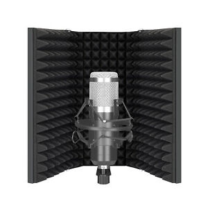 Neewer Pro Microphone Isolation Shield, 3-Panel Pop Filter, Absorbent Foam Front