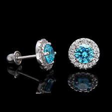 1CT Halo Blue Topaz Created Diamond Earrings 14k White Gold Screwback Studs