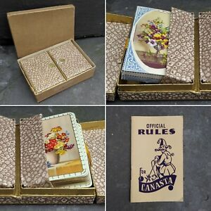 Antique Vintage Card Game Canasta Playing Cards Deck Case Box 1930s 1940s 1950s