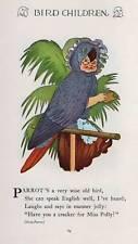 1930 Elizabeth Gordon's Bird Children: Parrot Vintage Print M T Ross