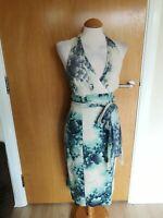 Ladies COAST Dress Size 8 Ivory Green Wiggle Pencil Party Evening Wedding Halter