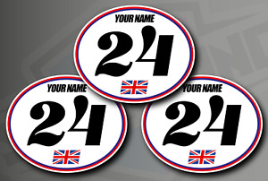 3 X Retro Oval Race Number Stickers - Custom Name, Flag - Vinyl Decals Car Track